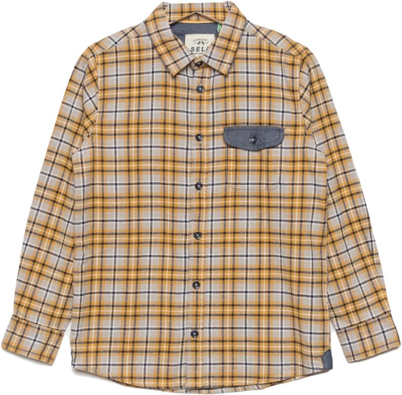 Рубашка для мальчика Sela, цвет: пастельно-золотой. H-812/023-7413. Размер 146H-812/023-7413Рубашка для мальчика от Sela выполнена из натурального хлопка. Модель с длинными рукавами и отложным воротником застегивается на пуговицы. На груди дополнена карманом с клапаном.