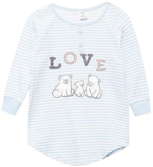 Ночная рубашка для девочки Sela, цвет: снежно-голубой. NDb-5661/105-7413. Размер 104/110NDb-5661/105-7413Ночная рубашка от Sela выполнена из эластичного хлопкового трикотажа. Модель с длинными рукавами и круглым вырезом горловины на груди декорирована планкой с пуговицами.