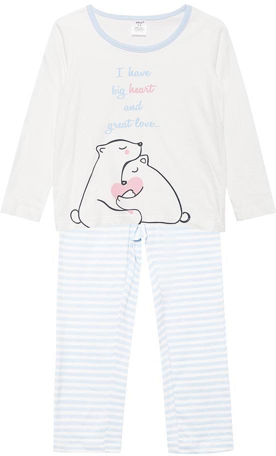 Пижама для девочки Sela, цвет: молочный. PYb-5662/342-7413. Размер 116/122PYb-5662/342-7413