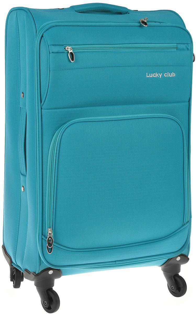 Чемодан Lucky Club, цвет: голубой, высота 60 см.17-201 - 60CMЧемодан Lucky Club, выполненный из плотного полиэстера, прекрасно подойдет для путешествий. Материал внутренней отделки - нейлон серого цвета. Чемодан вместителен, он содержит продуманную внутреннюю организацию, которая позволяет удобно разложить вещи. Закрывается на застежку-молнию с двумя бегунками. Внутри содержится одно большое отделение с двумя ремнями, которые застегиваются на пластиковые застежки. Крышка с внутренней стороны имеет плоский сетчатый карман на молнии. С внешней стороны имеется два дополнительных кармана на молниях. Для удобной перевозки чемодан оснащен четырьмя маневренными колесами, которые обеспечивают легкость перемещения в любом направлении. Телескопическая металлическая ручка выдвигается нажатием на кнопку и фиксируется. Сверху предусмотрена ручка для поднятия чемодана. С одного бока изделие дополнено четырьмя пластиковыми ножками, с другого- плотной текстильной ручкой для переноски в горизонтальном положении.Чемодан Lucky Club идеально подходит для поездок и путешествий. Он вместит все необходимые вещи и станет незаменимым аксессуаром во время поездок. Размер корпуса чемодана: 40 x 22 х 60 см. Высота чемодана (с учетом колес и максимально выдвинутой ручки): 95 см. Максимальная высота выдвижной ручки: 46 см. Минимальная высота выдвижной ручки: 34 см. Диаметр колеса: 5 см.