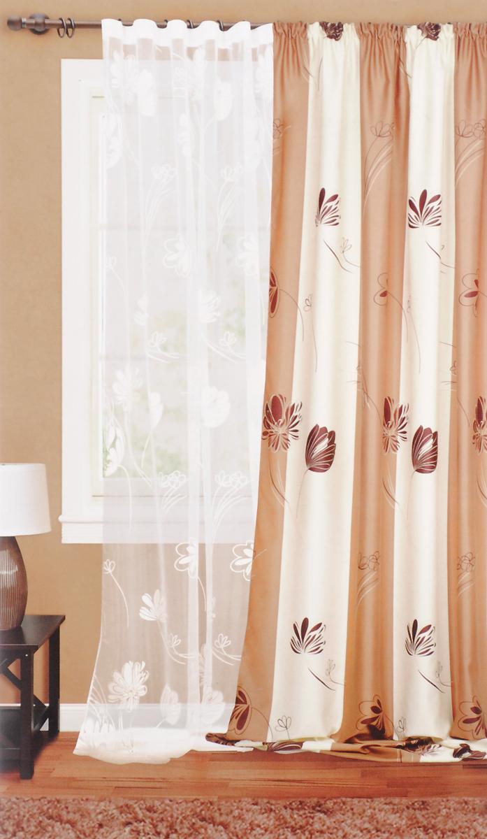 Штора готовая для гостиной Garden, на ленте, цвет: белый, темно-серый, размер 300*280 см. С 3156 - W260 V29С 3156 - W260 V29Штора тюлевая для гостиной Garden выполнена из тонкой органзы (полиэстера и вискозы) и оформлена цветочным узором. Легкая текстура материала и нежная цветовая гамма украсят любое окно и органично впишутся в интерьер помещения.Изделие оснащено шторной лентой для красивой сборки.