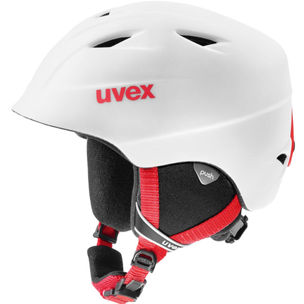 Шлем горнолыжный Uvex Airwing 2 Pro Kids Helmet, цвет: белый, красный матовый. Размер M6132Детский шлем Uvex Airwing 2 обеспечит юному лыжнику максимальный комфорт на склоне. В модели предусмотрены система вентиляции, съемная защита ушей и фиксатор стрэпа маски. Система индивидуальной подгонки размера IAS и застежка Monomatic позволят надежно закрепить шлем на голове. Подкладка выполнена из гипоаллергенного материала.