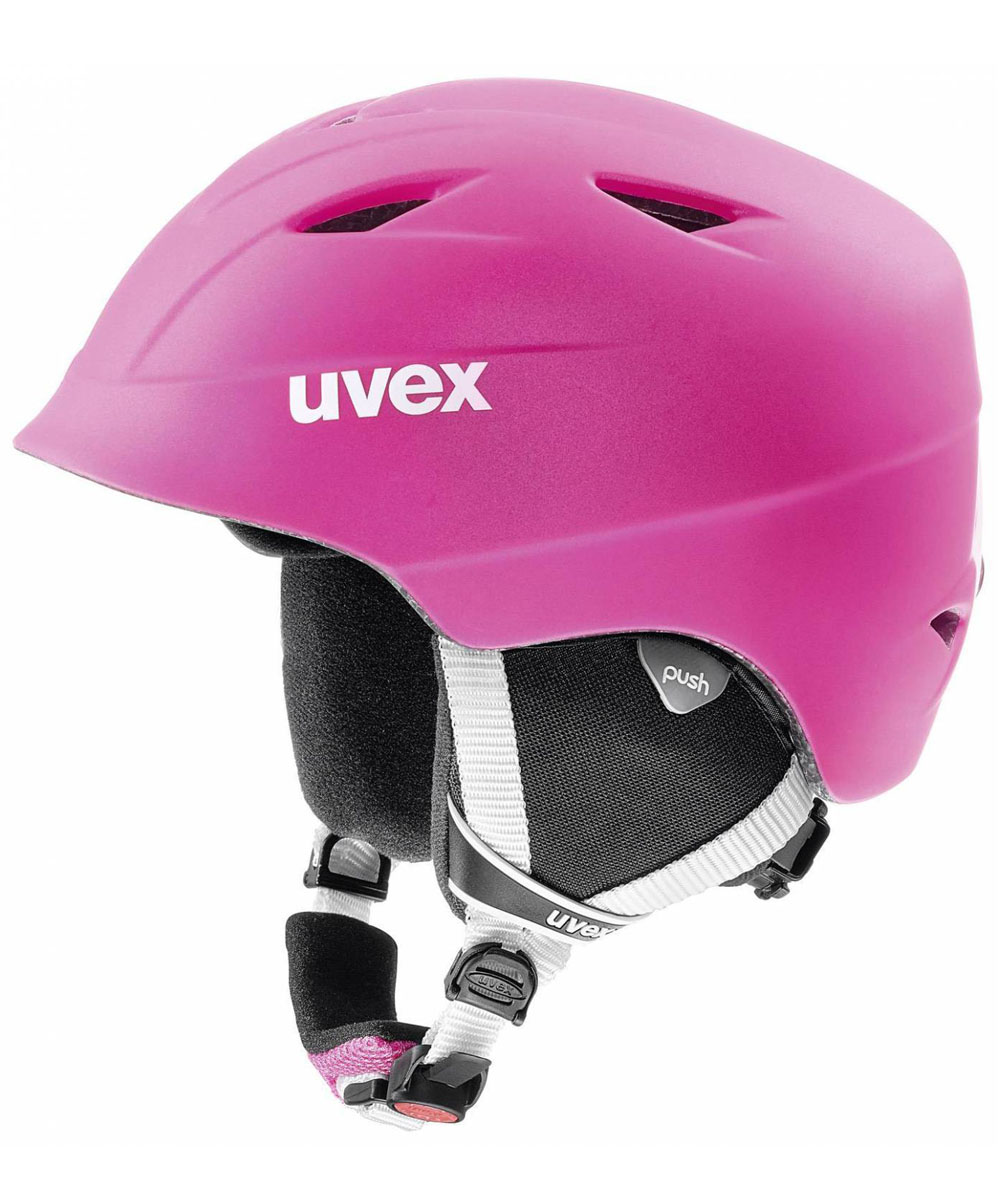 Шлем горнолыжный детский Uvex Airwing 2 Pro Kids Helmet, цвет: розовый матовый. Размер S6132Детский шлем Uvex Airwing 2 обеспечит юному лыжнику максимальный комфорт на склоне. В модели предусмотрены система вентиляции, съемная защита ушей и фиксатор стрэпа маски. Система индивидуальной подгонки размера IAS и застежка Monomatic позволят надежно закрепить шлем на голове. Подкладка выполнена из гипоаллергенного материала.
