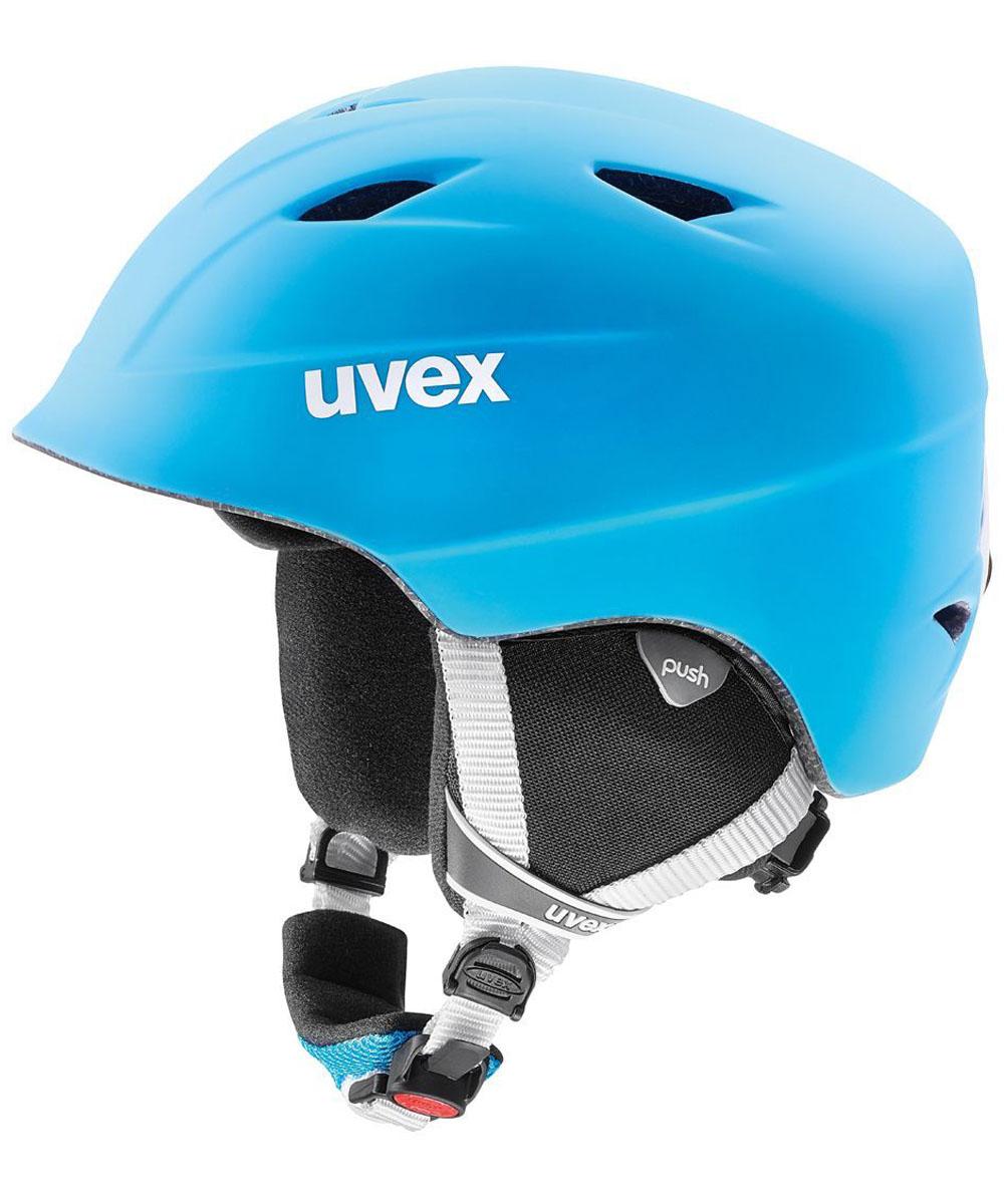 Шлем горнолыжный Uvex Airwing 2 Pro Kids Helmet, цвет: голубой, белый матовый. Размер S6132Детский шлем Uvex Airwing 2 обеспечит юному лыжнику максимальный комфорт на склоне. В модели предусмотрены система вентиляции, съемная защита ушей и фиксатор стрэпа маски. Система индивидуальной подгонки размера IAS и застежка Monomatic позволят надежно закрепить шлем на голове. Подкладка выполнена из гипоаллергенного материала.