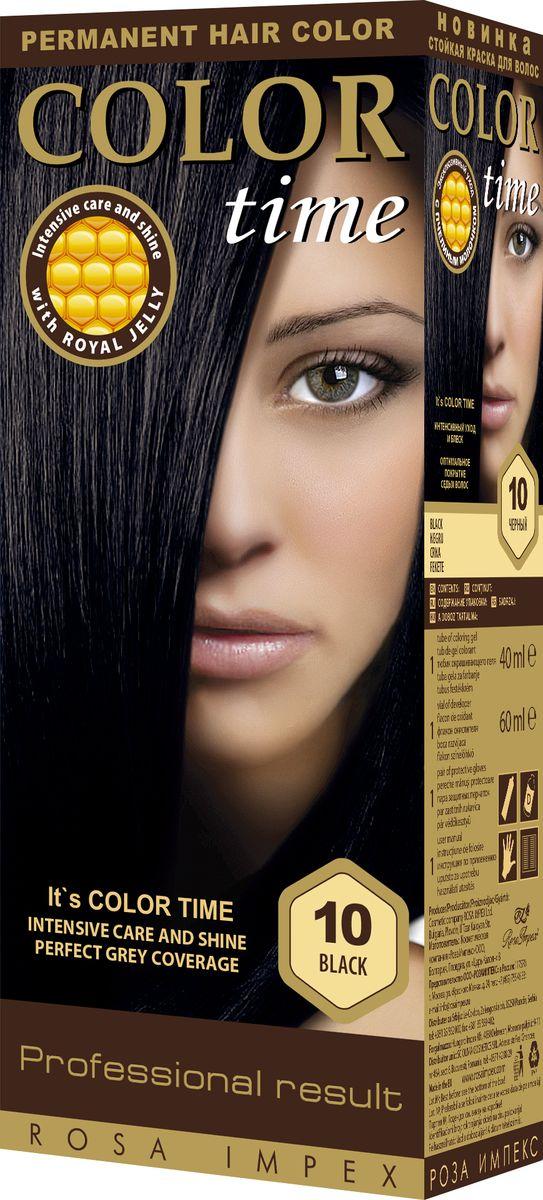 Color Time Гель-краска для волос 10 Черный, 100 мл2313-4-10COLOR TIME - Стойкая гель-краска для волосНовое поколение - формула на основе геляИнтенсивный блеск и уход с Пчелиным молочком ROYAL JELLYИнновационная формула с пчелиным молочком ROYAL JELLY обеспечивает идеальный баланс:- насыщенного цвета;- интенсивного ухода и надежной защиты.Комплекс из 18 аминокислот, пептидов, протеинов и стеролов питает волосы и восстанавливает их структуру. Питательные вещества пчелиного молочка являются строительным материалом для клеток волос, способствуют восстановлению и укреплению структуры волос и улучшают их внешний вид.Новая профессиональная формула на основе геля делает цвет исключительно устойчивым. Эта формула позволяет цветным пигментам в комбинации с Пчелиным молочком глубоко проникнуть внутрь волоса и получить таким образом результат: УНИКАЛЬНЫЙ ЦВЕТ и ЖИВЫЕ ВОЛОСЫ.Для дополнительного ухода в формулу добавлен и специальный силиконовый кондиционер, который делает волосы более БЛЕСТЯЩИМИ и МЯГКИМИ.Краска для волос COLOR TIME предназначена для женщин:- любого возраста, использующих косметику на основе натуральных, природных компонентов;- современных и стильных;- предпочитающих натуральные насыщенные цвета;- готовых экспериментировать и быть всегда в моде;Степень Стойкости 3 – обеспечивает стойкое окрашивание до появления отросших волос.100 % окрашивание седых волос.Оптимальное окрашивание седых волос за 30 мин.