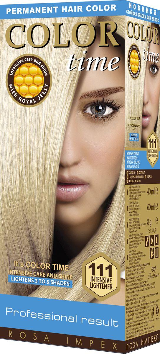 Color Time Гель-краска для волос 111 Интенсивный осветлитель, 100 мл2313-4-111COLOR TIME - Стойкая гель-краска для волос Новое поколение - формула на основе геля Интенсивный блеск и уход с Пчелиным молочком ROYAL JELLY Инновационная формула с пчелиным молочком ROYAL JELLY обеспечивает идеальный баланс: - насыщенного цвета; - интенсивного ухода и надежной защиты. Комплекс из 18 аминокислот, пептидов, протеинов и стеролов питает волосы и восстанавливает их структуру. Питательные вещества пчелиного молочка являются строительным материалом для клеток волос, способствуют восстановлению и укреплению структуры волос и улучшают их внешний вид. Новая профессиональная формула на основе геля делает цвет исключительно устойчивым. Эта формула позволяет цветным пигментам в комбинации с Пчелиным молочком глубоко проникнуть внутрь волоса и получить таким образом результат: УНИКАЛЬНЫЙ ЦВЕТ и ЖИВЫЕ ВОЛОСЫ. Для дополнительного ухода в формулу добавлен и специальный силиконовый кондиционер, который делает волосы более БЛЕСТЯЩИМИ и МЯГКИМИ. Краска для волос COLOR TIME предназначена для женщин: - любого возраста, использующих косметику на основе натуральных, природных компонентов; - современных и стильных; - предпочитающих натуральные насыщенные цвета; - готовых экспериментировать и быть всегда в моде; Степень Стойкости 3 – обеспечивает стойкое окрашивание до появления отросших волос. 100 % окрашивание седых волос. Оптимальное окрашивание седых волос за 30 мин.