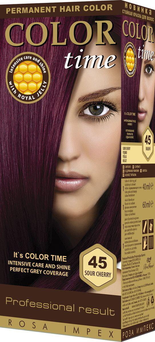 Color Time Гель-краска для волос 45 Вишня, 100 мл2313-4-45COLOR TIME - Стойкая гель-краска для волосНовое поколение - формула на основе геляИнтенсивный блеск и уход с Пчелиным молочком ROYAL JELLYИнновационная формула с пчелиным молочком ROYAL JELLY обеспечивает идеальный баланс:- насыщенного цвета;- интенсивного ухода и надежной защиты.Комплекс из 18 аминокислот, пептидов, протеинов и стеролов питает волосы и восстанавливает их структуру. Питательные вещества пчелиного молочка являются строительным материалом для клеток волос, способствуют восстановлению и укреплению структуры волос и улучшают их внешний вид.Новая профессиональная формула на основе геля делает цвет исключительно устойчивым. Эта формула позволяет цветным пигментам в комбинации с Пчелиным молочком глубоко проникнуть внутрь волоса и получить таким образом результат: УНИКАЛЬНЫЙ ЦВЕТ и ЖИВЫЕ ВОЛОСЫ.Для дополнительного ухода в формулу добавлен и специальный силиконовый кондиционер, который делает волосы более БЛЕСТЯЩИМИ и МЯГКИМИ.Краска для волос COLOR TIME предназначена для женщин:- любого возраста, использующих косметику на основе натуральных, природных компонентов;- современных и стильных;- предпочитающих натуральные насыщенные цвета;- готовых экспериментировать и быть всегда в моде;Степень Стойкости 3 – обеспечивает стойкое окрашивание до появления отросших волос.100 % окрашивание седых волос.Оптимальное окрашивание седых волос за 30 мин.