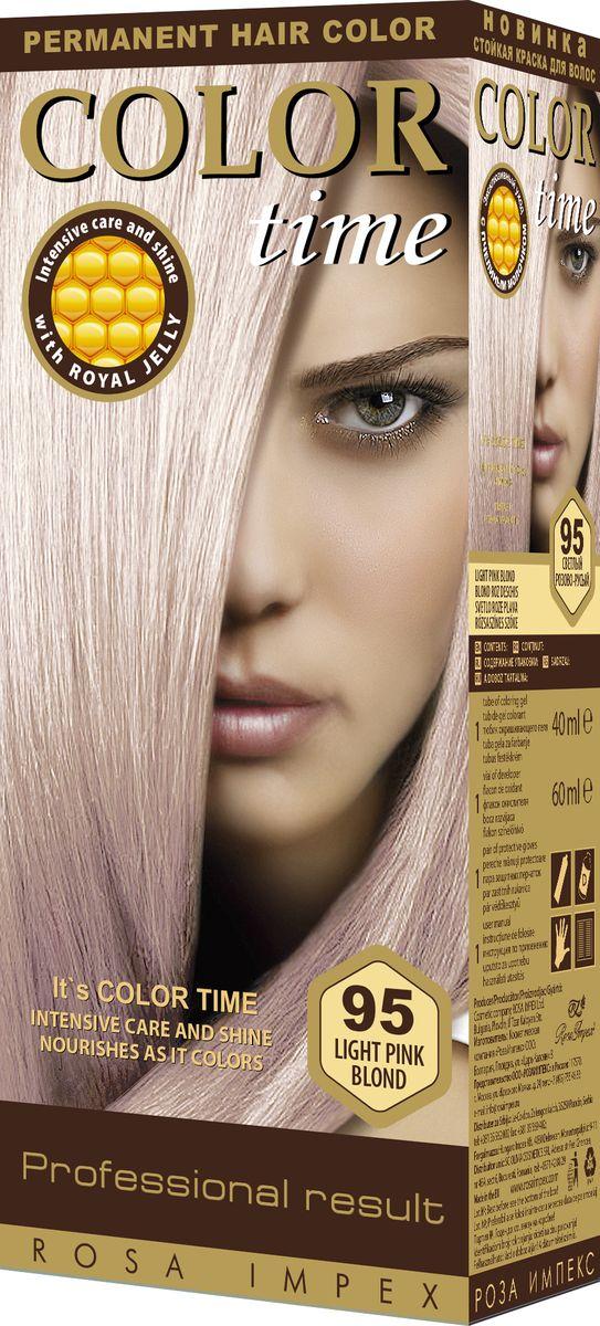 Color Time Гель-краска для волос 95 Светлый розово-русый, 100 мл2313-4-95COLOR TIME - Стойкая гель-краска для волосНовое поколение - формула на основе геляИнтенсивный блеск и уход с Пчелиным молочком ROYAL JELLYИнновационная формула с пчелиным молочком ROYAL JELLY обеспечивает идеальный баланс:- насыщенного цвета;- интенсивного ухода и надежной защиты.Комплекс из 18 аминокислот, пептидов, протеинов и стеролов питает волосы и восстанавливает их структуру. Питательные вещества пчелиного молочка являются строительным материалом для клеток волос, способствуют восстановлению и укреплению структуры волос и улучшают их внешний вид.Новая профессиональная формула на основе геля делает цвет исключительно устойчивым. Эта формула позволяет цветным пигментам в комбинации с Пчелиным молочком глубоко проникнуть внутрь волоса и получить таким образом результат: УНИКАЛЬНЫЙ ЦВЕТ и ЖИВЫЕ ВОЛОСЫ.Для дополнительного ухода в формулу добавлен и специальный силиконовый кондиционер, который делает волосы более БЛЕСТЯЩИМИ и МЯГКИМИ.Краска для волос COLOR TIME предназначена для женщин:- любого возраста, использующих косметику на основе натуральных, природных компонентов;- современных и стильных;- предпочитающих натуральные насыщенные цвета;- готовых экспериментировать и быть всегда в моде;Степень Стойкости 3 – обеспечивает стойкое окрашивание до появления отросших волос.100 % окрашивание седых волос.Оптимальное окрашивание седых волос за 30 мин.