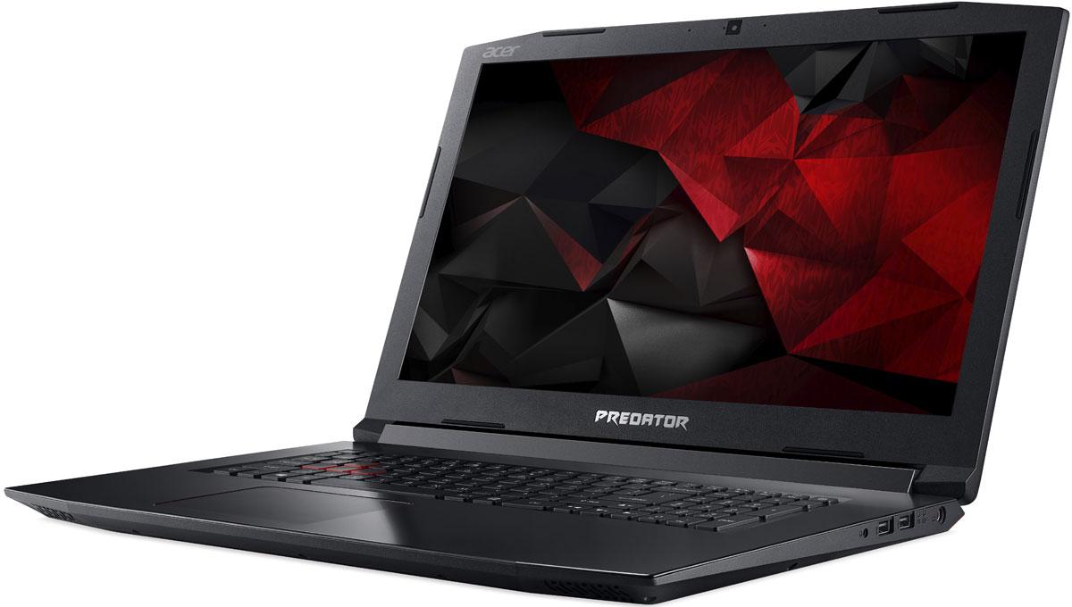 Acer Predator Helios 300 VR PH317-51-7717, BlackPH317-51-7717Мощный ноутбук Acer Predator Helios 300 погрузит вас в самое пекло игровых сражений.Если корпус черного цвета с красными деталями еще не приковал ваш взгляд - тогда проведите по нему рукой и почувствуйте текстуру металла.Ультратонкий (0,1 мм) металлический вентилятор AeroBlade 3D имеет улучшенную аэродинамику и обеспечивает превосходный обдув для охлаждения системы.Плоские поверхности и острые грани придают черно-красному корпусу агрессивный вид.Продуманная конструкция вентиляционных каналов гарантирует отличное охлаждение и отлично смотрится.Бороться с соперниками помогут новейший процессор Intel Core 7-го поколения и графика NVIDIA GeForce GTX 1050 Ti. Ноутбуки с графическими картами NVIDIA GeForce серии GTX 10 основанные на архитектуре NVIDIA Pascal это идеальный выбор для игр с графикой высокого разрешения.Благодаря красной подсветке клавиш вы сможете играть в любое время и в любом месте.Специальное приложение PredatorSense от Acerпозволит контролировать и настраивать различные игровые параметры.Ноутбук сертифицирован EAC и имеет русифицированную клавиатуру и Руководство пользователя