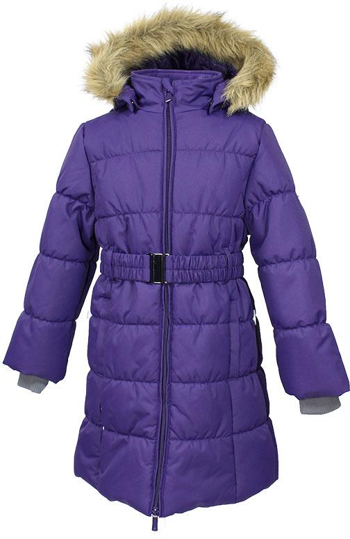 Пальто для девочки Huppa, цвет: лилoвый. 12030030-70053. Размер 14612030030-70053Стильное пальто Huppa идеально подойдет для ребенка в прохладное время года. Модель изготовлена из полиэстера.Пальто с капюшоном и небольшим воротником-стойкой застегивается на застежку-молнию с двумя бегунками и дополнительно имеет внутренний ветрозащитный клапан, а также защиту подбородка. Капюшон оформлен мехом. Низ рукавов дополнен эластичными манжетами, не стягивающими запястья. Спереди модель дополнена двумя втачными карманами. Пальто дополнено съемным эластичным поясом.