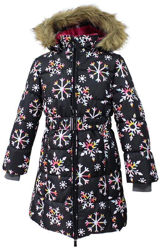 Пальто для девочки Huppa, цвет: черный. 12030030-71609. Размер 12212030030-71609Стильное пальто для девочки Huppa идеально подойдет для ребенка в прохладное время года. Модель изготовлена из полиэстера.Пальто с капюшоном и небольшим воротником-стойкой застегивается на застежку-молнию с двумя бегунками и дополнительно имеет внутренний ветрозащитный клапан, а также защиту подбородка. Капюшон оформлен мехом. Низ рукавов дополнен эластичными манжетами, не стягивающими запястья. Спереди модель дополнена двумя втачными карманами. Пальто дополнено съемным эластичным поясом. Модель оформлена ярким принтом.