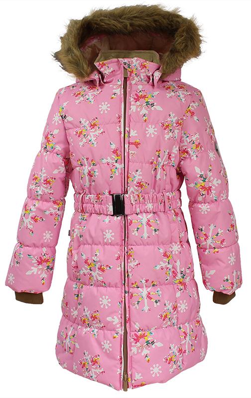 Пальто для девочки Huppa Yacaranda, цвет: розовый. 12030030-71613. Размер 11012030030-71613Стильное пальто для девочки Huppa идеально подойдет для ребенка в прохладное время года. Модель изготовлена из полиэстера.Пальто с капюшоном и небольшим воротником-стойкой застегивается на застежку-молнию с двумя бегунками и дополнительно имеет внутренний ветрозащитный клапан, а также защиту подбородка. Капюшон оформлен мехом. Низ рукавов дополнен эластичными манжетами, не стягивающими запястья. Спереди модель дополнена двумя втачными карманами. Пальто дополнено съемным эластичным поясом. Модель оформлена ярким принтом.