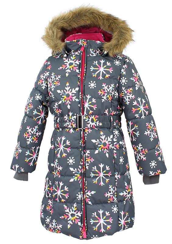 Пальто для девочки Huppa Yacaranda, цвет: серый. 12030030-71648. Размер 11612030030-71648Стильное пальто для девочки Huppa идеально подойдет для ребенка в прохладное время года. Модель изготовлена из полиэстера.Пальто с капюшоном и небольшим воротником-стойкой застегивается на застежку-молнию с двумя бегунками и дополнительно имеет внутренний ветрозащитный клапан, а также защиту подбородка. Капюшон оформлен мехом. Низ рукавов дополнен эластичными манжетами, не стягивающими запястья. Спереди модель дополнена двумя втачными карманами. Пальто дополнено съемным эластичным поясом. Модель оформлена ярким принтом.