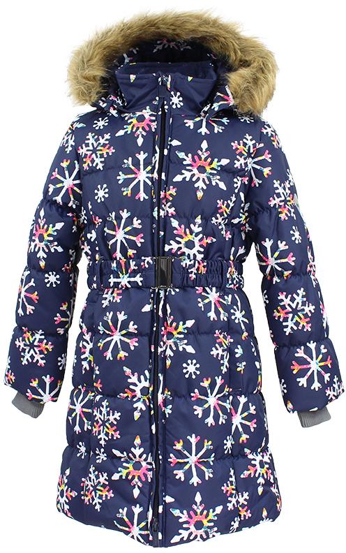 Пальто для девочки Huppa Yacaranda, цвет: темно-синий. 12030030-71686. Размер 14012030030-71686Стильное пальто для девочки Huppa идеально подойдет для ребенка в прохладное время года. Модель изготовлена из полиэстера.Пальто с капюшоном и небольшим воротником-стойкой застегивается на застежку-молнию с двумя бегунками и дополнительно имеет внутренний ветрозащитный клапан, а также защиту подбородка. Капюшон оформлен мехом. Низ рукавов дополнен эластичными манжетами, не стягивающими запястья. Спереди модель дополнена двумя втачными карманами. Пальто дополнено съемным эластичным поясом. Модель оформлена ярким принтом.