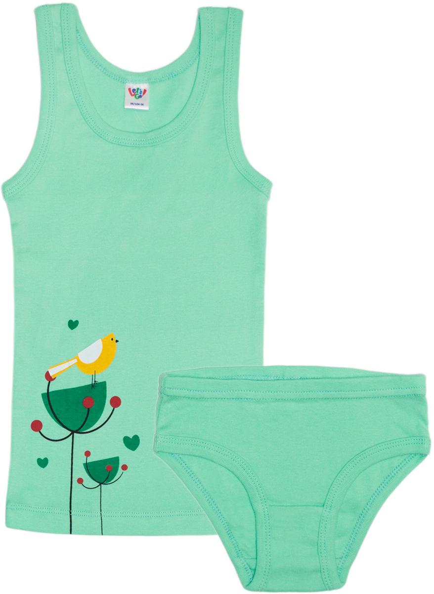 Комплект одежды: майка, трусы для девочки Let's Go, цвет: светло-зеленый. 3140. Размер 98/104 спортивный костюм для девочки let s go цвет фиолетовый 11114 размер 164