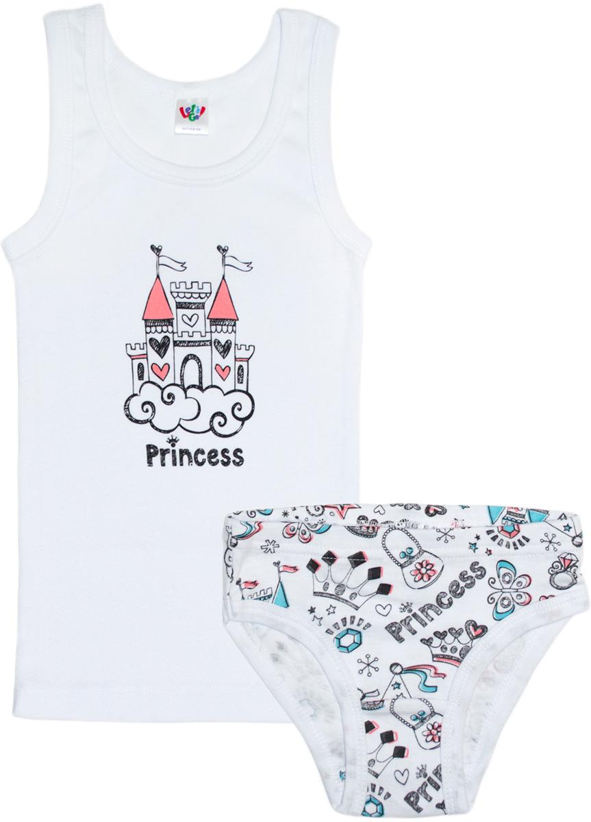 Комплект одежды: майка, трусы для девочки Let's Go, цвет: белый. 3143. Размер 92
