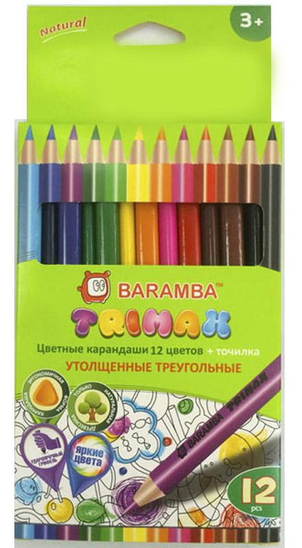 Набор цветных карандашей Baramba Trimax, 12 цветовB33312/TУтолщенные цветные карандаши Baramba Trimax откроют юным художникам новые горизонты для творчества, а также помогут отлично развить мелкую моторику рук, цветовое восприятие, фантазию и воображение. Необычный треугольный корпус изготовлен из натуральной древесины, гладкость которого обеспечена многослойной покраской. Карандаши удобно держать в руках, а мягкий грифель не требует сильного нажима и легко стирается ластиком. Комплект включает 12 заточенных карандашей ярких насыщенных цветов.Не рекомендуется детям до 3-х лет.