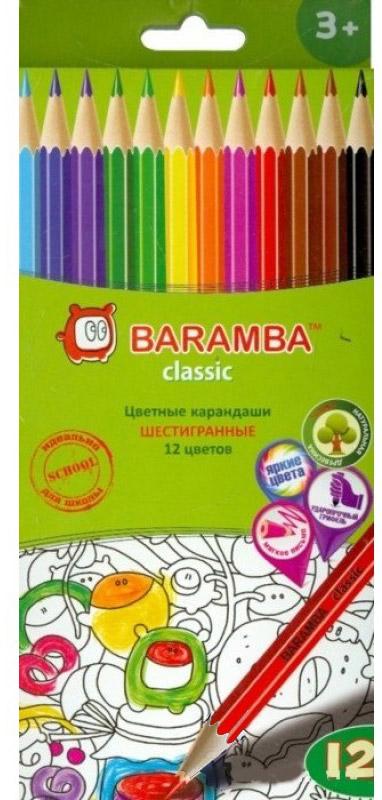 Набор цветных карандашей Baramba Stripe, с точилкой, 12 цветов карандаши цветные baramba шестигранные 24 цветов