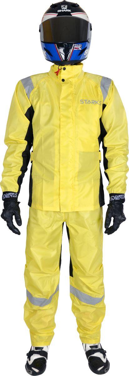 Дождевик раздельный Starks Light Rain, цвет: желтый. Размер: XXXLLC0053_желтый_XXXLЧастично мембранный дождевой комплект, для максимальной заметности в плохую погоду. Дождевик разработан как компромисс между бюджетным по цене и комфортом мембранного дождевика. Oxford в роли основной ткани. Вставки из топовой мембраны 10 000 c отделкой Teflon от DuPont пр-ва Бельгии. Морозоустойчивость мембраны - до -40 градусов. Дождевик прекрасно защищает от наружной влаги, при этом мембрана регулирует внутренний климат, обеспечивает циркуляцию и выведение пара. Мембрана рассчитана на высокое пара выведение и не дает преть внутри дождевика. Яркий и безопасный желтый цвет для пасмурной погоды.