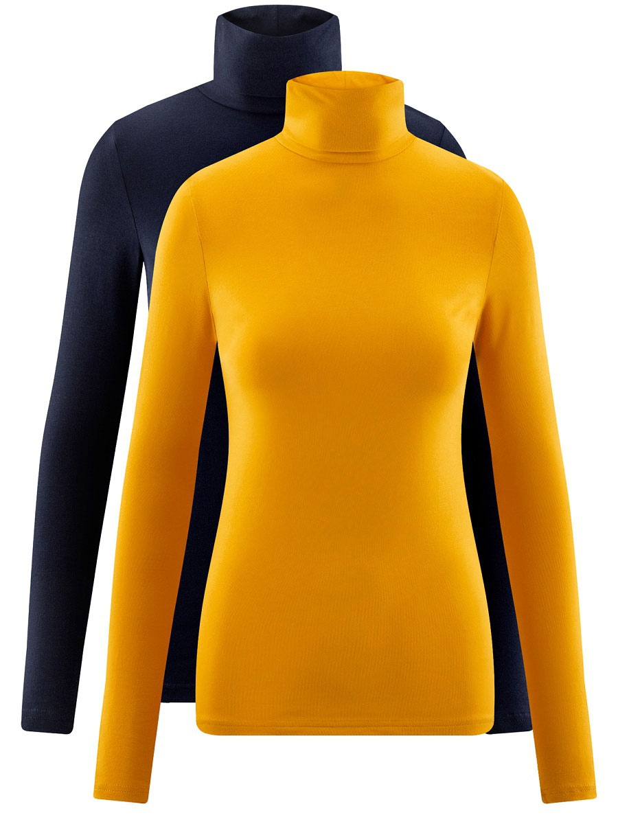 Водолазка женская oodji Ultra, цвет: темно-синий, желтый, 2 шт. 15E02001T2/46147/19MJN. Размер XXL (52)15E02001T2/46147/19MJNБазовая женская водолазка oodji Ultra выполнена из эластичной хлопковой ткани. У модели воротник-гольф и стандартные длинные рукава. В набор входит две водолазки.