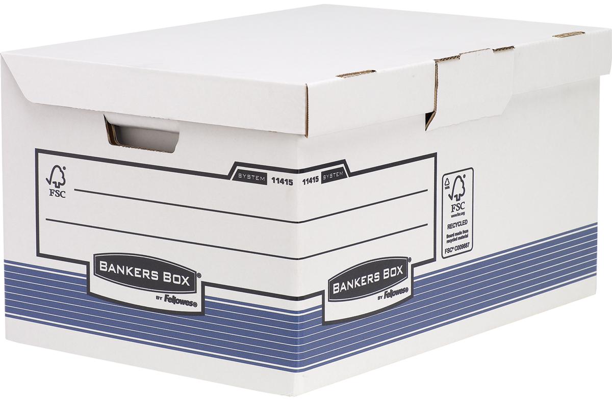 Fellowes Короб архивный Bankers Box System Maxi c откидной крышкой цвет синий белый 39 x 31 x 56 см fellowes mesh поддерживающая подушка для офисного кресла