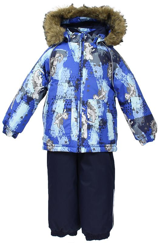 Комплект верхней одежды детский Huppa, цвет: синий, темно-синий. 41780030-72135. Размер 9241780030-72135Комплект для малышей AVERY.Водо и воздухонепроницаемость 5 000 куртка / 10 000 брюки. Утеплитель 300 гр куртка/160 гр брюки. Подкладка фланель 100% хлопок.Отстегивающийся капюшон с мехом.Манжеты рукавов на резинке. Манжеты брюк на резинке.Добавлены петли для ступней.Резиновые подтяжки.Имеются светоотражательные элементы.