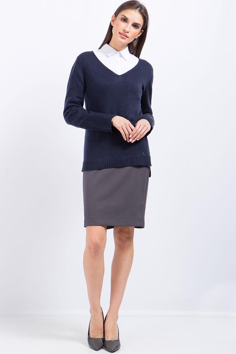 Джемпер женский Finn Flare, цвет: темно-синий. W17-11112_101. Размер XL (50)W17-11112_101