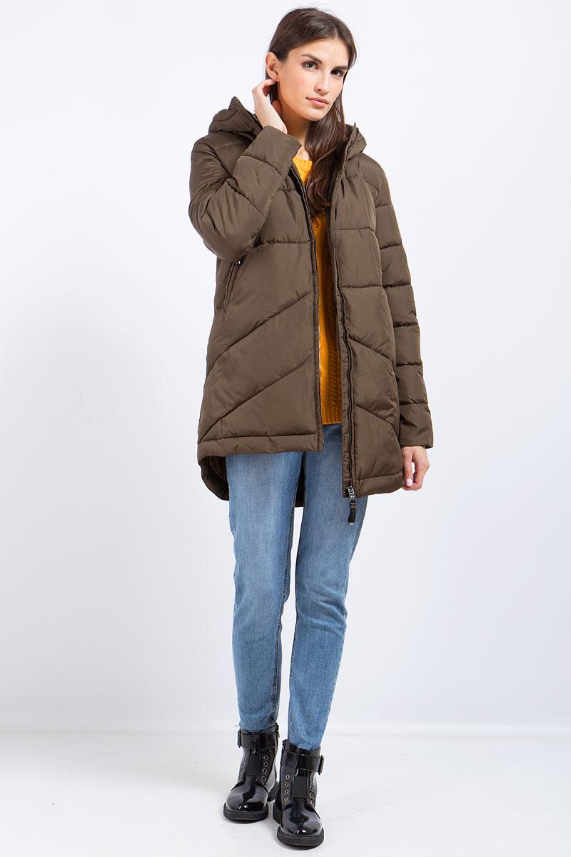 Пальто женское Finn Flare, цвет: зеленый. W17-32022_908. Размер S (44)W17-32022_908Пальто женское Finn Flare выполнено из полиэстера. Модель с капюшоном и длинными рукавами застегивается на застежку-молнию.