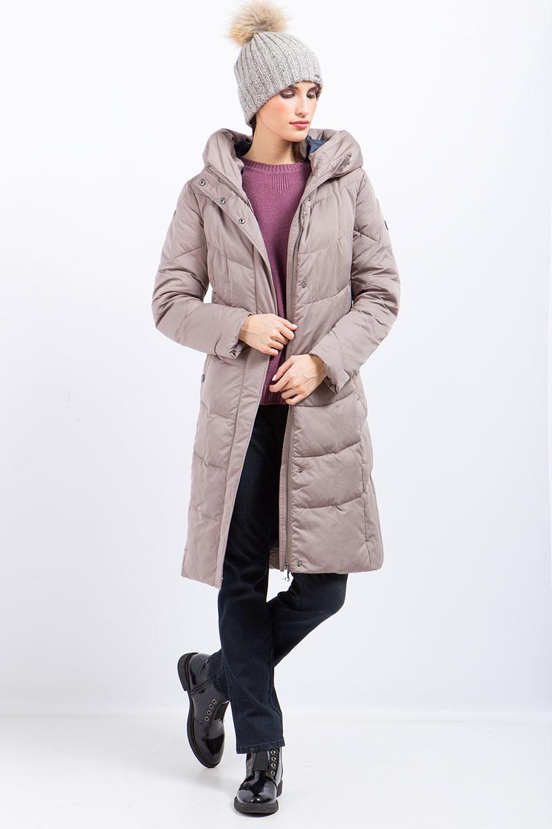 Пальто женское Finn Flare, цвет: серо-розовый. W17-11022_824. Размер L (48)W17-11022_824