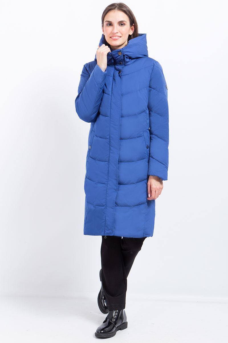 Пальто женское Finn Flare, цвет: синий. W17-11022_103. Размер L (48) платье finn flare цвет серый синий черный w16 11030 101 размер l 48