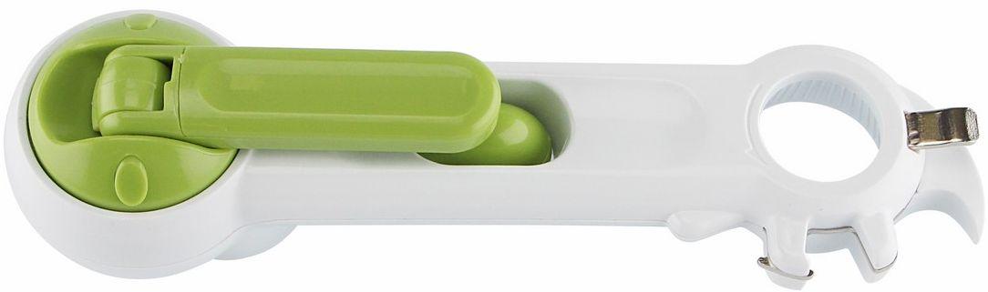 Открывашка Ругес Ключер, 6 в 1, цвет: светло-зеленый, белыйK-12Современная кухня предполагает большое количество банок и бутылок в которых покупается, хранится и консервируется еда. И все емкости закрыты разными способами. Только самых распространенных можно насчитать шесть способов. Все крышки рано или поздно понадобиться открыть. И приходится крутить руками, поддевать ножичком, открывать лимонад зажигалкой, а для жестяных банок все-таки иметь традиционный консервный нож. Универсальный консервный нож 6 в 1 Ключер - результат того, что изобретатель не поленился и придумал чем удобно открывать и как уместить приспособления для открывания на одном приборе. Ключер откроет Вам: - Жестяные банки любого диаметра без усилий - Откручивающиеся крышки пластиковых бутылок - Железные крышки на бутылках - Откручивающиеся железные крышки - Консервы с петлей на крышке - Жестяные накладные крышки Консервный нож Ключер открывает жестяные банки удерживая крышку от падения в банку и делает открытые края не острыми, сводя риск порезаться к минимуму. Открывать с универсальным консервным ножом Ключер легче, безопаснее и быстрее! Ключер легкий и компактный – удобно брать на отдых на природе. Размер: 20,5х6х5 см. Вес: 104 г. Материал: ПВХ, металл. Инструкция на русском языке.