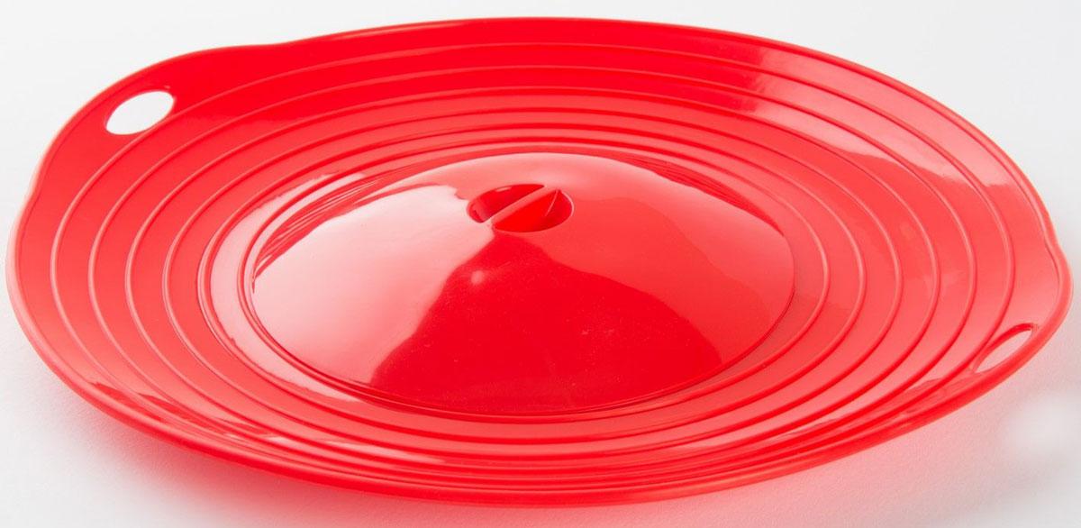 """Крышка-невыкипайка """"Кипель"""" - кухонный аксессуар из силикона, который сохранит жидкость и пену в кастрюле, а жир в сковородке. Просто накрывайте крышкой емкости, в которых готовите! Крышка универсальна для посуды диаметром от 15 до 26 см. Использовать невыкипайку можно на варочной поверхности плиты, в духовке и в микроволновой печи. А можно оперативно организовать из силиконовой крышки пароварку - просто накройте сверху обыкновенной крышкой!   Диаметр невыкипайки: 28 см.  Диаметр верхей крышки: 15 см.  Вес: 270 гр.  Материал: силикон.  Инструкция на русском языке."""