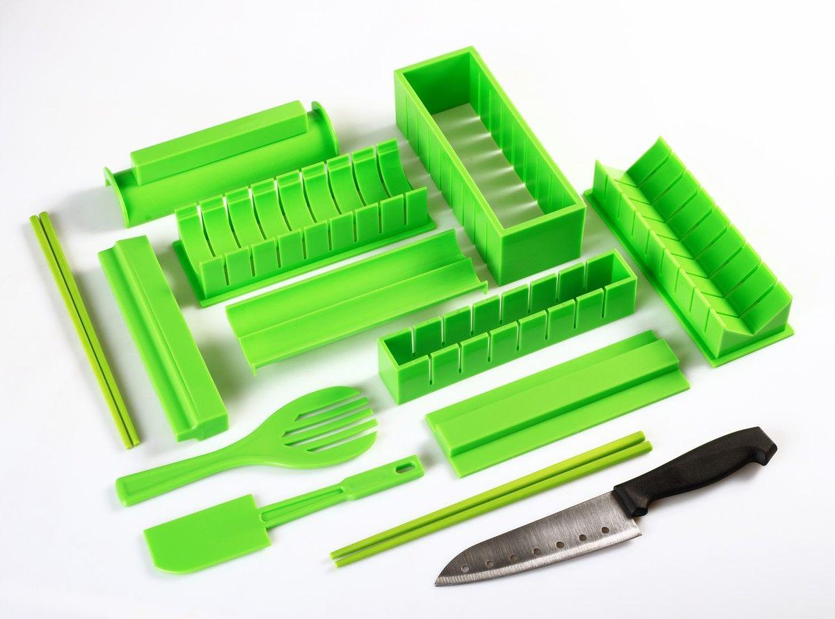 Набор для приготовления роллов Ругес Суши, цвет: светло-зеленыйK-8Изготовление суши-роллов дома требует умения, наличия специальных циновок, острого удобного ножа. Чтобы роллы получались ровными, плотными и аккуратными надо не один раз потренироваться. Если Вы хотите просто вкусно перекусить, а не сдать экзамен на суши-шефа, то столько времени на тренировки тратить жаль. Набор для приготовления роллов Суши позволяет быстро изготовить аккуратные роллы даже новичкам. Отличие от старых моделей: новый яркий цвет и дополнительно 4 палочки для еды. В Наборе Суши предусмотрено все необходимое: специальные формы с крышками вместо циновок, нож, лопатка, вилка и 4 палочки для еды. Вам нужно будет только купить продукты для выбранного рецепта. С Набором для приготовления роллов Вы можете готовить роллы вместе с друзьями или детьми и устраивать суши-вечеринки. Набор для приготовления роллов можно использовать для изготовления фаршированных рулетиков из блинов, лаваша – Вы просто укладываете их в основу вместо листа нори! В набор входят: 1. Форма для круглого верха – 1 шт. 2. Крышка для плоского верха – 1 шт. 3. Форма для роллов сердечком – 1 шт. 4. Форма для треугольного основания – 1 шт. 5. Форма для маленьких квадратных роллов – 1 шт. 6. Форма для круглого основания – 1 шт. 7. Форма для больших квадратных роллов – 1 шт. 8. Форма для продавливания – 1 шт. 9. Лопатка – 1 шт. 10. Шпатель – 1 шт. 11. Специальный нож для нарезки - 1 шт. 12. Палочки для еды - 4 шт. Инструкция на русском языке.
