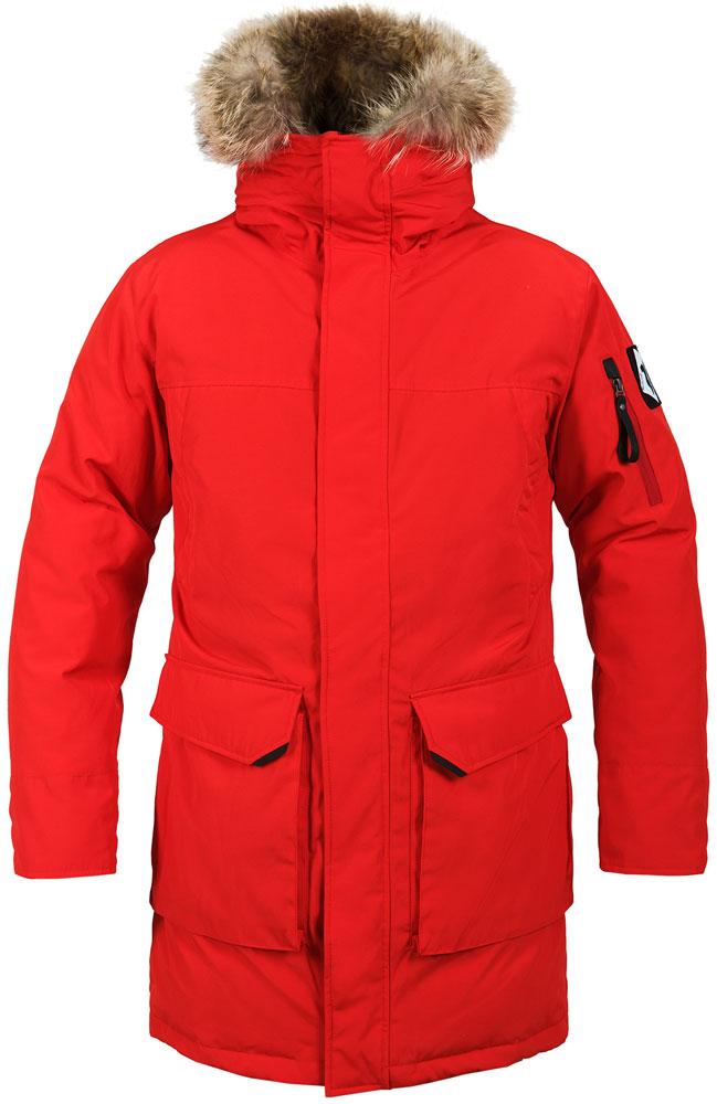 Парка мужская Red Fox Arctica, цвет: красный. 00001052050_1300. Размер XL (54/56)00001052050_1300Мужское пуховое полупальто для использования в условиях сверхнизких температур.Основные характеристики:- прочный внешний материал с водоотталкивающей пропиткой- антигрязевая обработка материала- свободная посадка с возможностью комфортного использования одежды 2-ого слоя.- трёхслойная конструкция пухового пакета- дополнительное утепление плечей синтетическим утеплителем- капюшон с регулировкой по высоте и с опушкой из меха енота, застегивающийся в трубу и изолирующий лицо от ветра- удлиненный силуэт- два объемных боковых кармана с клапаними на магнитных кнопках- два кармана на магнитных кнопках на груди- карман на рукаве на молнии- два больших внутренних кармана- внутренние лямки, позволяющие носить куртку как рюкзак- двухзамковая центральная молния с ветрозащитной планкой и подпланкой- регулировка объема в области талии- рукав с возможностью регулировки длины- боковые разрезы на молнии для удобства доступа к карманам брюк- длинные внутренние манжеты- съёмная снегозащитная юбка. Основное назначение: Полярные экспедиции, путешествия, загородный отдыхПосадка: Regular FitМатериал: 83% Polyester, 17% Cotton, 179 g/sqm, Soil release treatment, DWRУтеплитель: Утиный пух 90/10 F.P. 650+Подкладка: 100% Polyester, 76 g/sqmДлина спины, см: 98 (M).