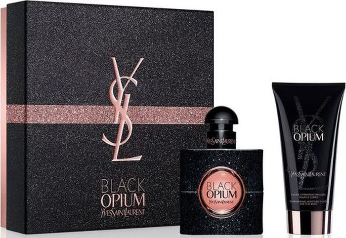 YSL Парфюмерный набор женский Black Opium, 2 предмета990420Парфюмерная вода Black Opium (30 мл) содержит ноты черной смородины, груши, зеленого мандарина, жасмина, апельсинового цвета, кофе и белого мускуса.Лосьон для тела Black Opium (50 мл) – это неповторимая и мерцающая текстура, похожая на гель, максимально увлажняет кожу, раскрывая кофейный аромат с легкими нотами ванили.