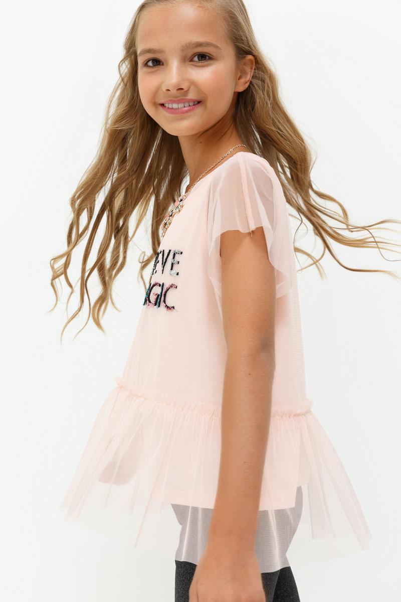 Блузка для девочки Acoola Toffee, цвет: светло-розовый. 20210110109. Размер 16420210110109Блузка для девочки Acoola выполнена из полиэстера. Модель с круглым вырезом горловины оформлена принтом и украшена пайетками.