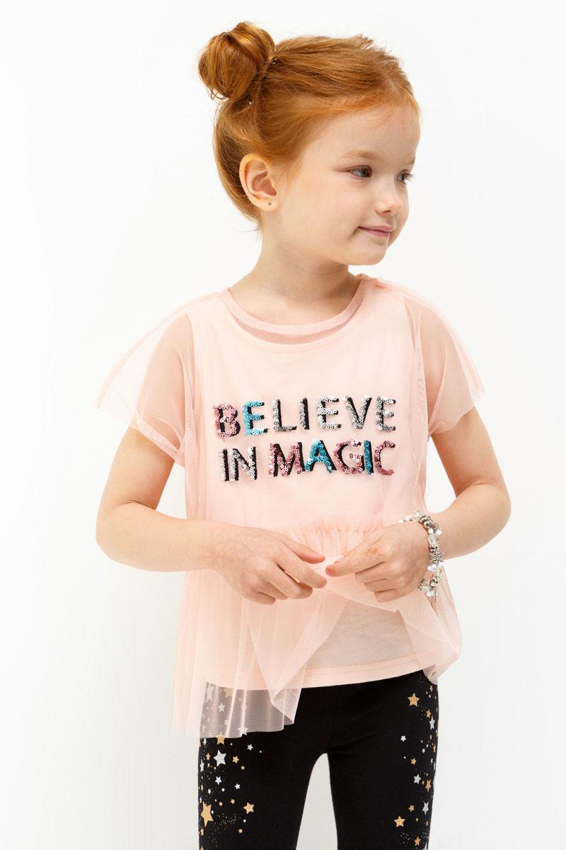 Блузка для девочки Acoola Toffee, цвет: светло-розовый. 20220110111. Размер 12820220110111Блузка для девочки Acoola выполнена из полиэстера. Модель с круглым врезом горловины оформлена принтом и пайетками.