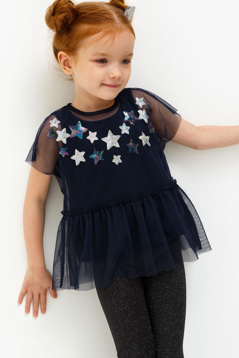 Блузка для девочки Acoola Toffee, цвет: темно-синий. 20220110111. Размер 11620220110111Блузка для девочки Acoola выполнена из полиэстера. Модель с круглым врезом горловины оформлена принтом и пайетками.