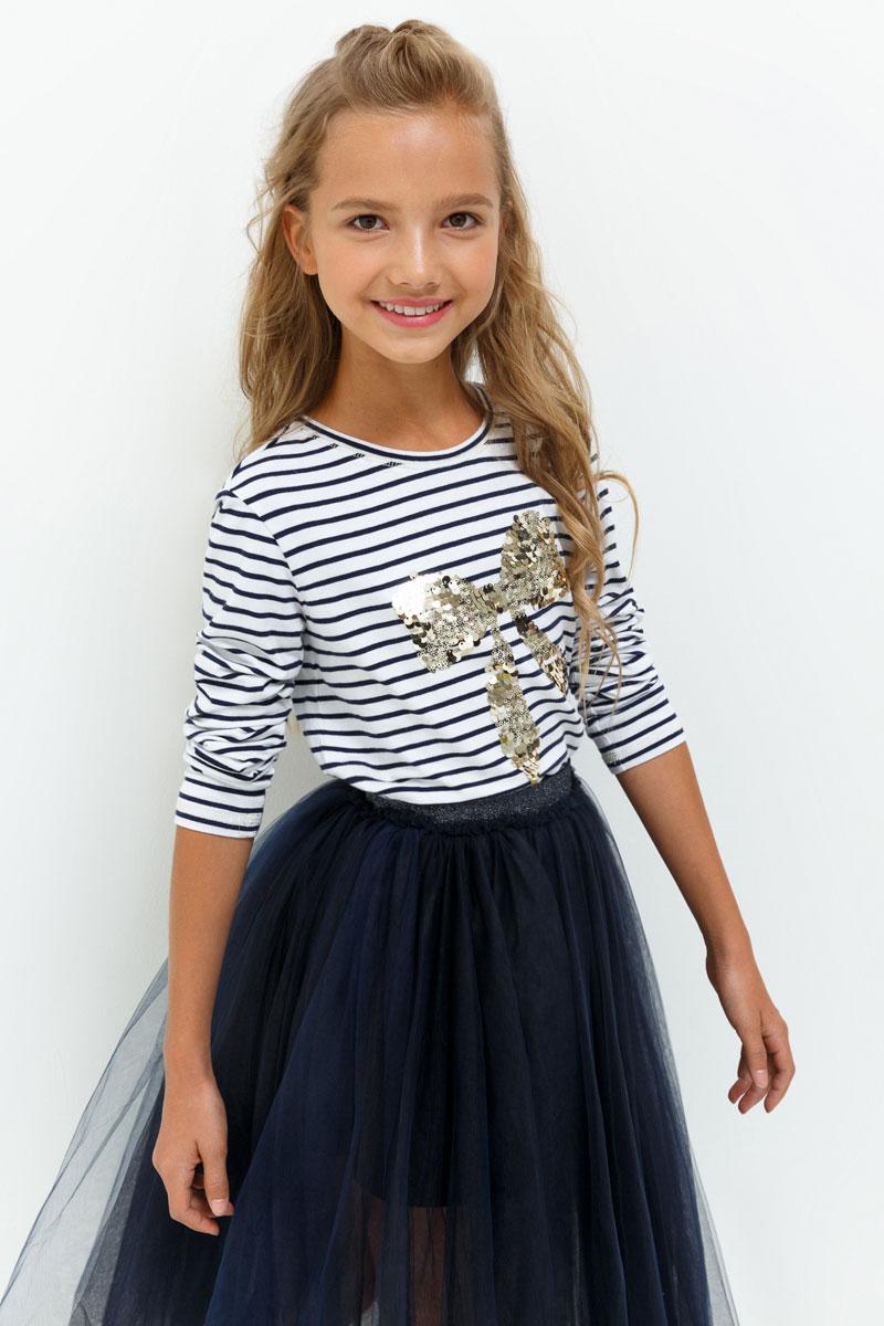 Джемпер для девочки Acoola Ferrero, цвет: белый, темно-синий. 20210100156. Размер 13420210100156