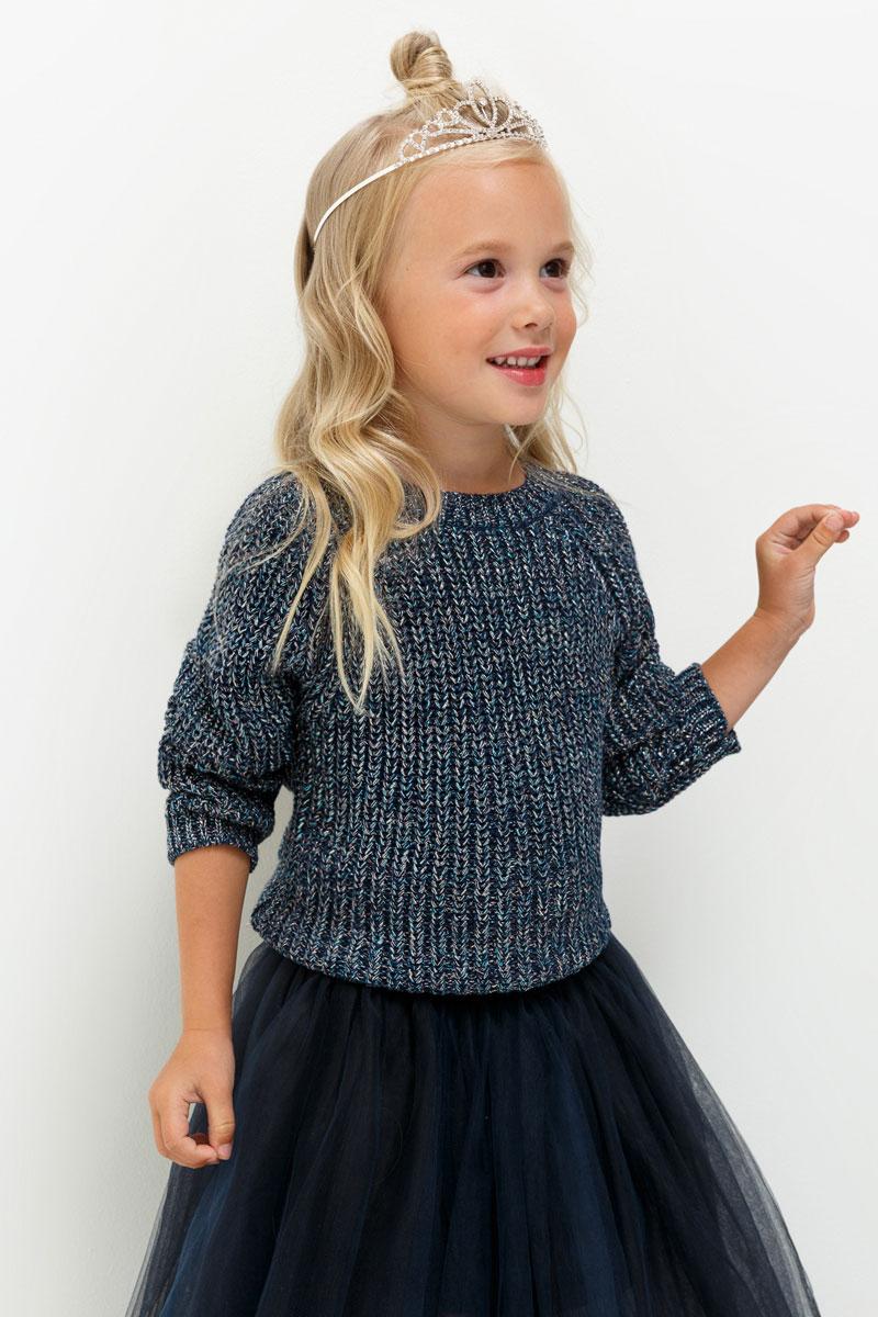 Джемпер для девочки Acoola Milana, цвет: темно-синий. 20220310055. Размер 11020220310055Джемпер для девочки Acoola выполнен из качественного материала. Модель с круглым вырезом горловины и длинными рукавами.