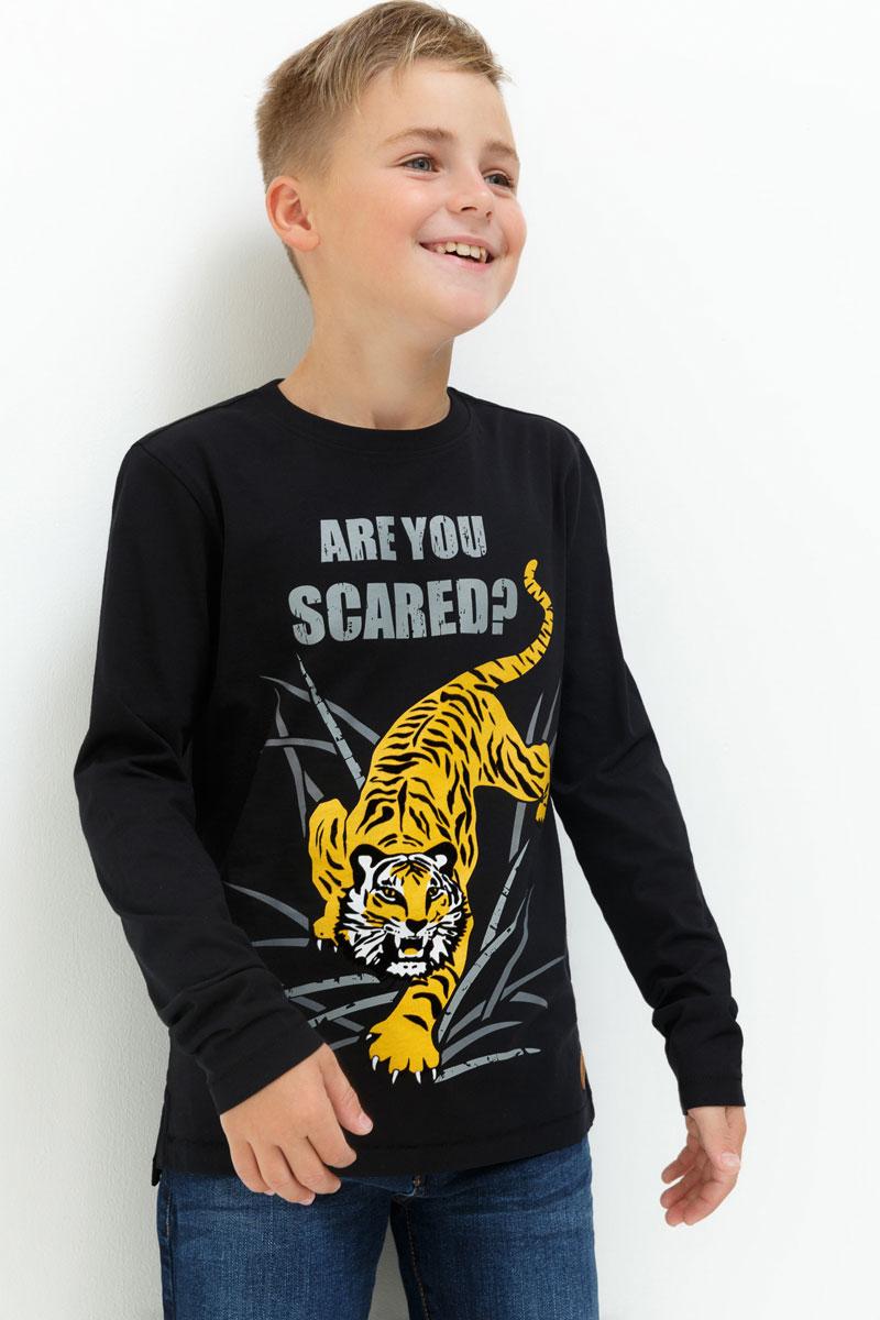 Лонгслив для мальчика Acoola Terni, цвет: черный. 20110100111. Размер 15220110100111Лонгслив для мальчика Acoola выполнен из натурального хлопка. Модель с круглым вырезом горловины и длинными рукавами.
