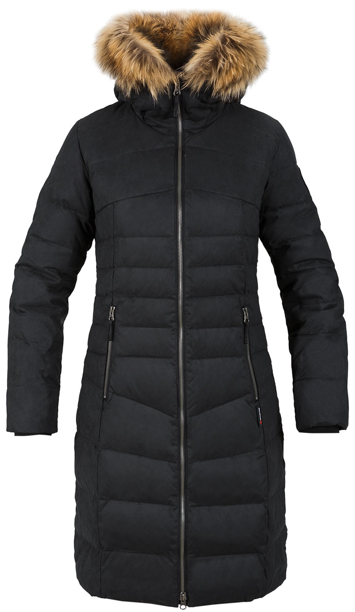 Пальто женское Red Fox, цвет: черный. 1040747. Размер L (50)1040747Пуховое пальто из прочного материала мягкой фактуры с «Peach» эффектом.полуприталенный силуэт длина до колена интегрированный капюшон с регулировкой и съемной опушкой из меха енота эластичные внутренние манжеты двухзамковая основная молния два боковых кармана на молнии один внутренний карман на молнии Основное назначение: Повседневное городское использование Посадка: REGULAR FIT Материал: dry Factor 3000, 90% Polyester 10% nylon, 111g/sqm, Coating, W/P 3000mm; breathability 3000 g/sqm 24hrs, dWR Утеплитель: утиный пух / duck down (F.P.650+) Подкладка: 100% Polyester, 76 g/sqm Размерный ряд: 42/S-52/XL