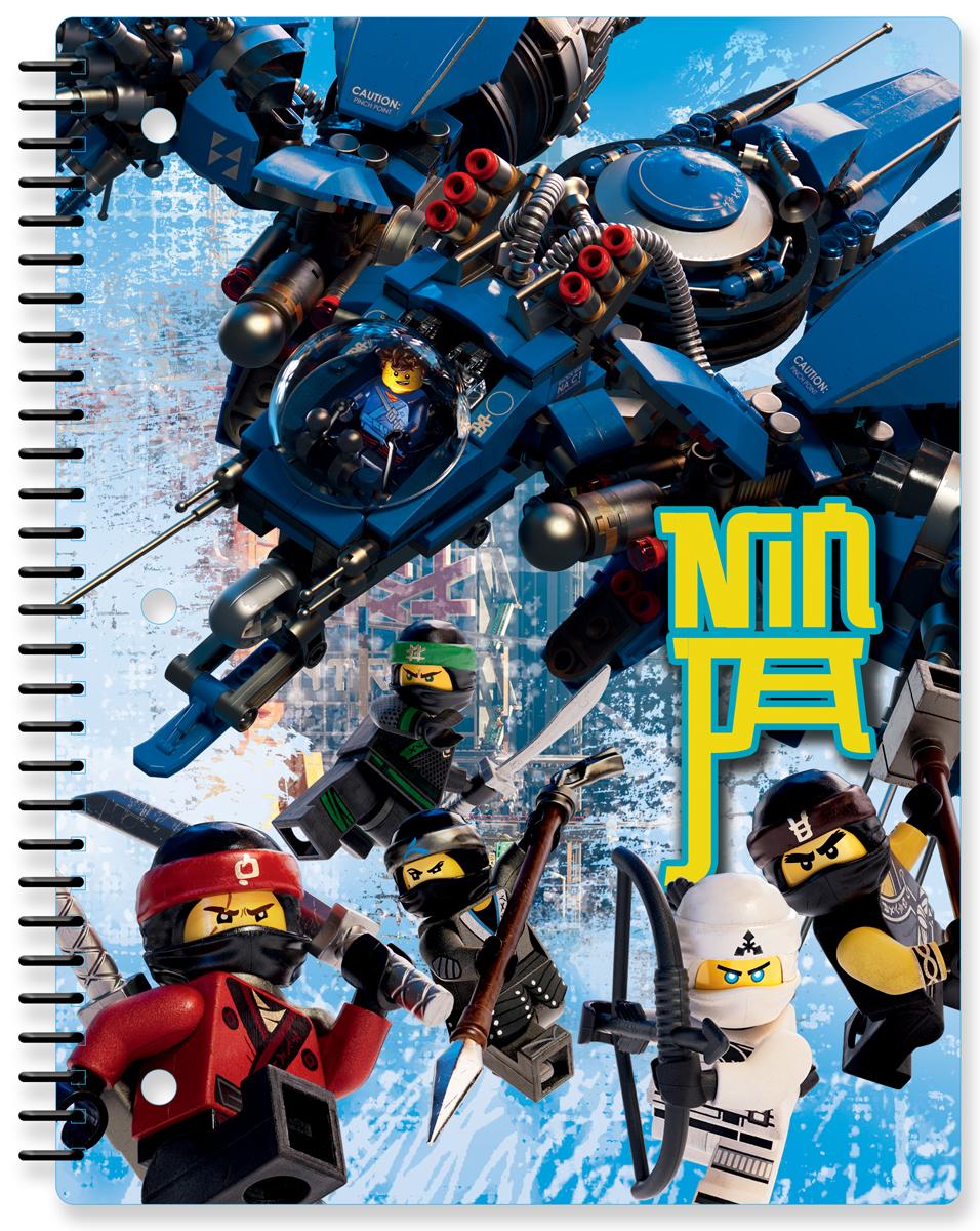 LEGO NINJAGO Тетрадь на спирали 70 листов в линейку 5187251872Тетрадь на спирали в линейку предназначена для школьных занятий и просто для записей. Стильный дизайн обложки, сочетающий различные цвета и изображения любимых персонажей делает тетрадь подходящей для учеников начальной и средней школы. Плотная обложка из высококачественного картона не даст помяться страничкам.