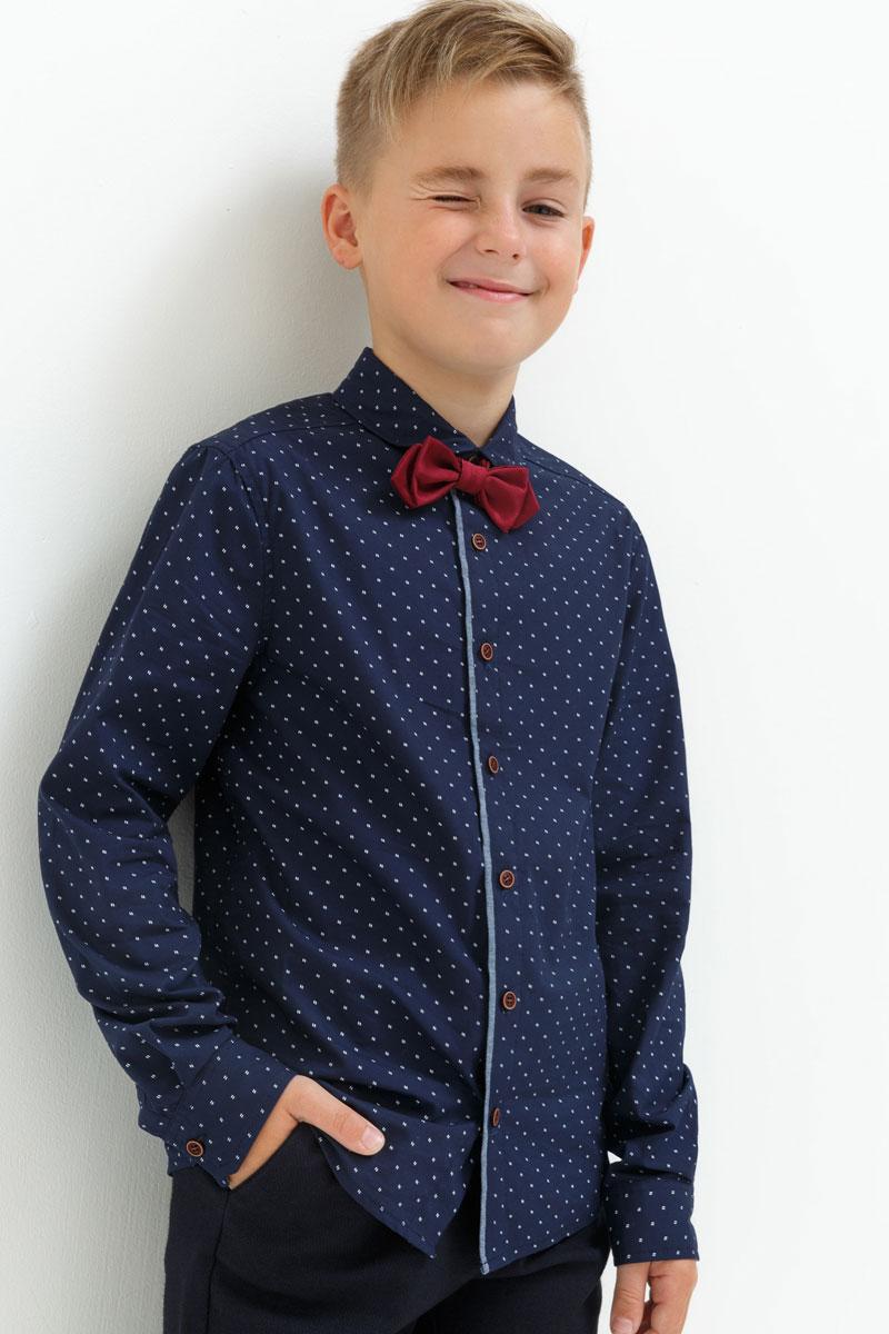 Рубашка для мальчика Acoola Jer, цвет: темно-синий. 20110280061. Размер 13420110280061Рубашка для мальчика Acoola выполнена из натурального хлопка. Модель с отложным воротником и длинными рукавами застегивается на пуговицы.