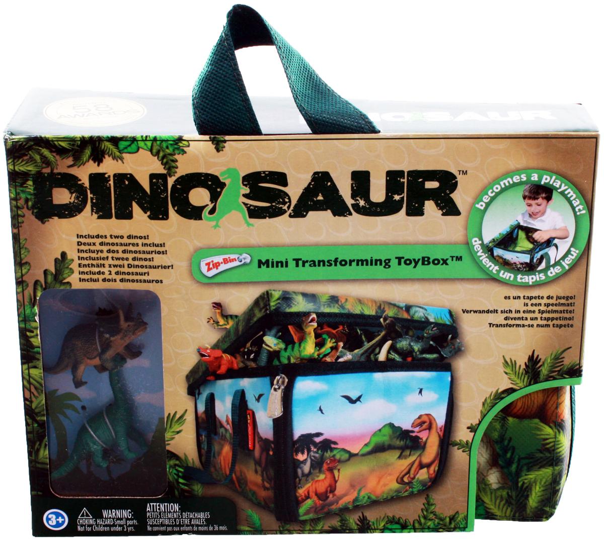 Dinosaur Игровой набор Мини ЗипБин Динозавр 3 предметаА1043Х2Вопрос о сохранности и транспортировке игрушек можно считать решенным, ведь теперь у вашего ребенка будет оригинальный и удобный ЗипБин. В нем можно не только переносить или хранить игрушки, он и сам является частью игры. Интересный формат коробки-коврика позволяет максимально просто организовать сбор использованных элементов – только не позволяйте им выходить за пределы площадки! Коробка легко раскладывается и превращается в красочный коврик. Игровое поле украшено изображением фантастического мира доисторических хищников. С помощью фигурок-динозавров (2 в комплекте) можно придумать множество интересных сценариев и разыграть их прямо на полу своей комнаты. Могучие динозавры и захватывающие приключения уже ждут вас! С помощью ЗипБина этой серии вы сможете создать свои собственные удивительные истории, стать их режиссером и главным героем. Фигурки динозавров из всех игровых наборов прекрасно подходят для коллекционирования. Собрав всех зверей вместе, вы сможете разыгрывать поистине эпические сражения, достойные экранизации. Увлекательная игра докажет, что грубой силе всегда можно противопоставить смекалку, умение пользоваться техникой и командный дух. Состав: коробка-коврик-50%полипропилен, 40% пористый полиэтилен, 10% картон; фигурка-пластик. Рекомендуемый возраст - от 3х лет. Размер коробки-23Х17,5Х12,5 см (д/ш/в), коврика-44,5Х39,5 см, высота фигурки-6,2 см.