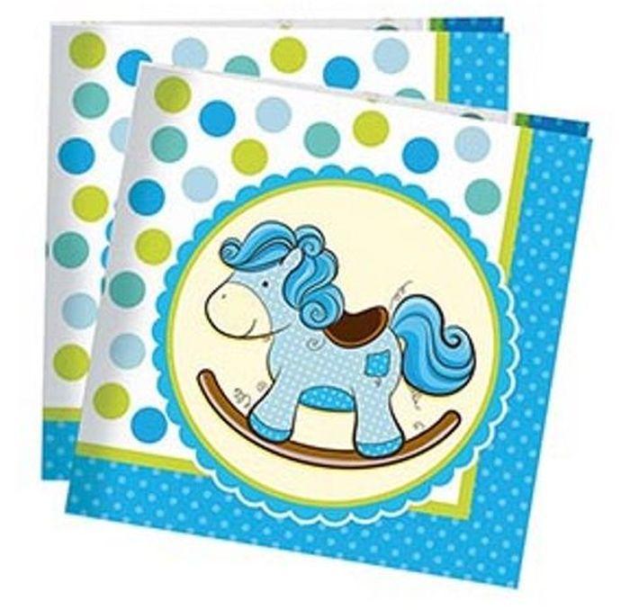 Пати Бум Салфетки Лошадка Малыш цвет голубой 20 шт - Сервировка праздничного стола