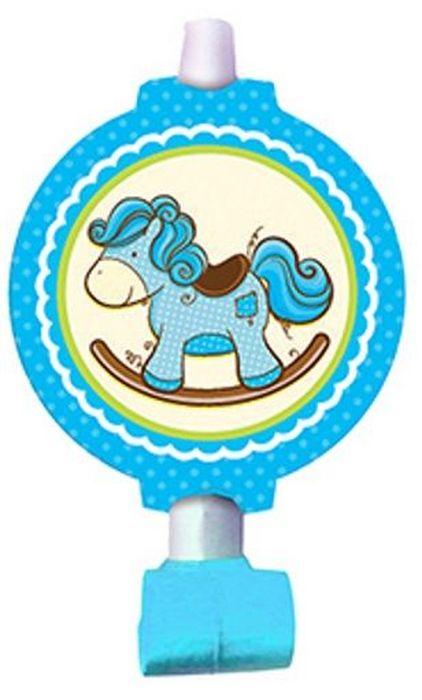 Пати Бум Язык-гудок с карточкой Лошадка цвет голубой 6 шт - Сервировка праздничного стола