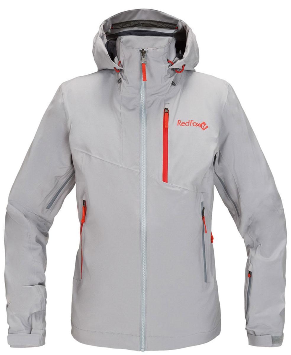 Куртка женская Red Fox, цвет: серый. 1051610. Размер L (50)1051610В моделях Voltage используется эксклюзивный утеплитель Thinsulate®FX70, который выполнен из эластичного синтетического волокна и ламинирован с ультралёгкой трикотажной подкладкой, что позволяет использовать меньшее количество слоев одежды. Изделия обладают свойствами климат-контроля, благодаря которым во время катания поддерживается оптимальная температура тела. Регулируемый в трех плоскостях капюшон с ламинированным козырьком совместим с каской. Центральная тракторная молния. Защита подбородка из микрофлиса. Вентиляция в подмышечной зоне на молнии со вставками из сетки. Односторонняя регулировка по низу изделия. Воротник-стойка продублирован микрофлисом. Снегозащитная юбка и нижняя часть подкладки куртки выполнены из влагостойкого материала. Эластичные внутренние манжеты с отверстием для большого пальца. Влагозащитные наружные молнии и проклеенные швы.