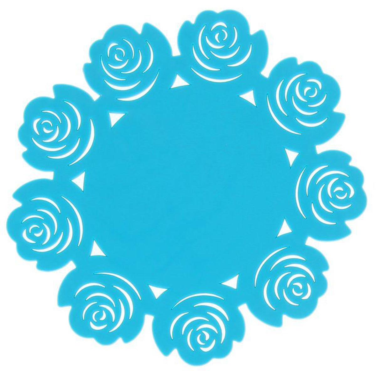 Подставка под горячее Доляна Летний домик, цвет: бирюзовый, 16 см812069Силиконовая подставка под горячее — практичный предмет, который обязательно пригодится в хозяйстве. Изделие поможет сберечь столы, тумбы, скатерти и клеёнки от повреждения нагретыми сковородами, кастрюлями, чайниками и тарелками.