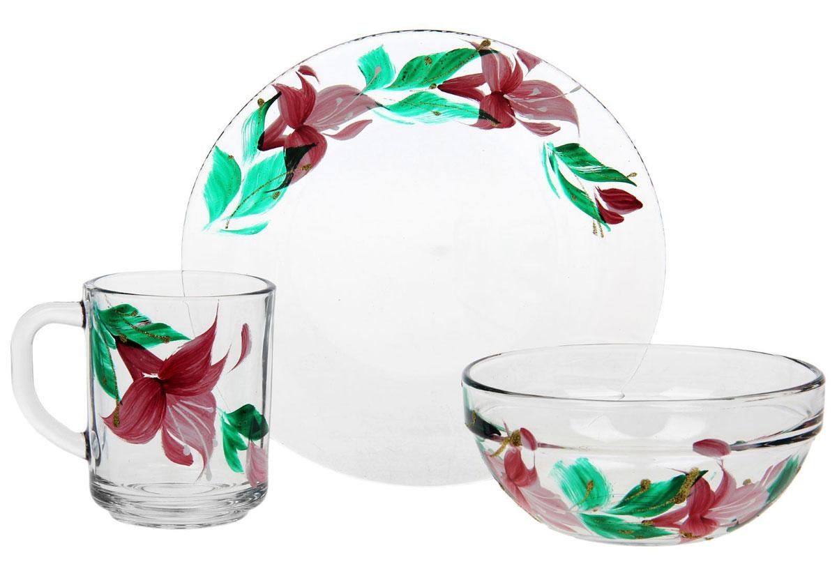 Набор для завтрака Хрустальный звон, цвет: прозрачный, светло-розовый, зеленый, 3 предмета1193729Набор для завтрака Хрустальный звон, состоящий кружки, салатника и тарелки, необходим для любой хозяйки, он сочетает в себе отличное качество и дизайн. Изделия выполнены из высококачественного прозрачного стекла и украшены художественной росписью с блестками.Такой набор украсит любой кухонный интерьер и станет хорошим подарком для ваших близких.Кружка: высота 9 см, диаметр 7 см. Салатника: высота 6 см, диаметр по верхнему краю 11 см. Диаметр тарелки: 19,5 см.